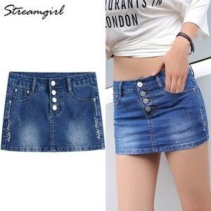 Image 1 - Streamgirl Denim Mini Saia Com Botões Frente Sexy Short Bandage Saia Bordado Com Shorts Jeans Mulheres Micro Mini Saias
