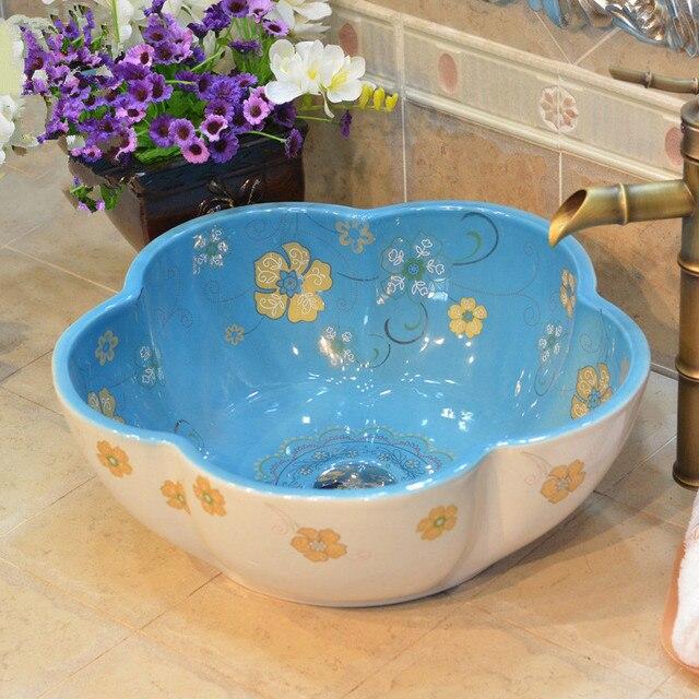 Flower Shape Porcelain China Classic Art Lotus Bathroom Sinks Ceramic  Countertop Hand Painted Ceramic Vessel Sink