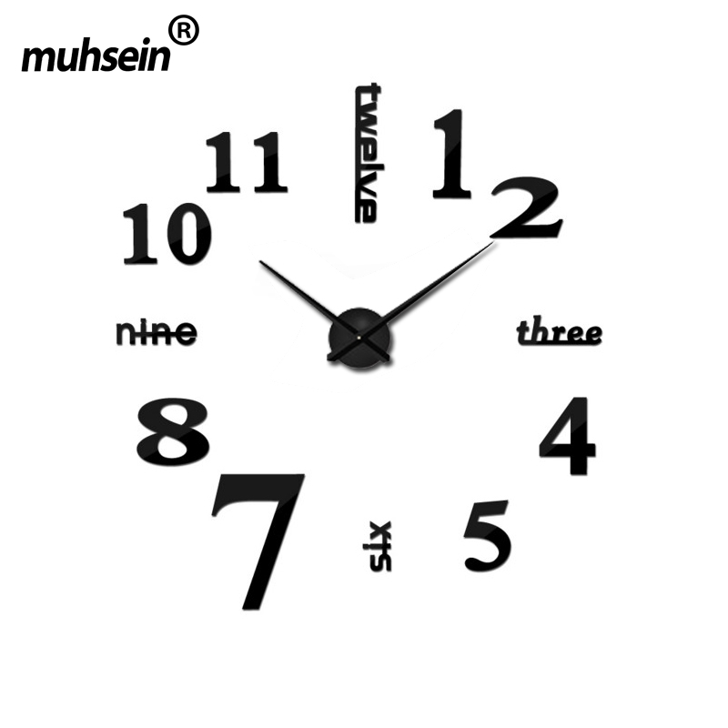 Muhsein 2017 New Fashion Big Size Wall Clock Mirror Sticker DIY Wall Watch Modem Living Room Decor Wall Clocks Free Shipping