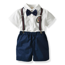 Toddler Boys Clothing Set Summer Baby Suit Shorts Shirt 1 2 3 4 Year Children Kid Clothes Suits Formal Wedding Party Costume shirt bow knot vest pants 4pcs suit kids boys suits formal costume gentleman suit wedding suit boy children party clothes