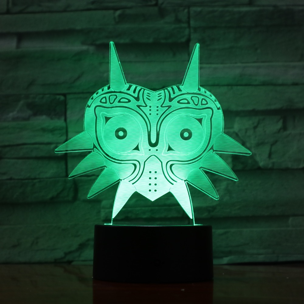 FIGURE Majoras Mask 3D Lava Lamp Creative 7 Color Changing LED Night Light