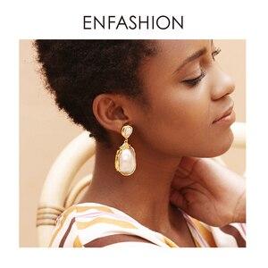 Image 5 - Enfashion Vintage Lớn Xà Cừ Bông Tai Giọt Dành Cho Nữ Màu Vàng Tự Nhiên Xà Cừ Earings Trang Sức Thời Trang Oorbellen E191024