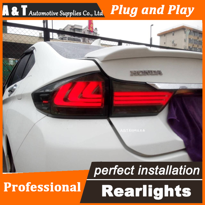 A&T Car Styling for Honda city LED Tail Lights 2015 Tail Light new city Rear Lamp DRL+Brake+Park+Signal led lights