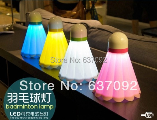 Badminton creative led small night lamp energy saving lamp charging small baby baby bedroom bedside table lamp Free shipping