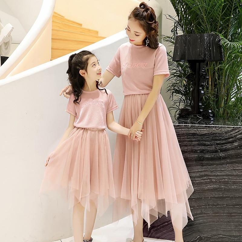 Mother Daughter Dress Family Matching Clothes Summer New Fashion Baby Girl Princess T Shirt+skirt Set Mesh Skirt Set Family Look недорго, оригинальная цена