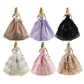 6PCS Wedding Dress for Barbie Doll Elegant Lace Multi Layers Wedding Dress For Barbie Doll Luxury Floral Doll Dress Clothes