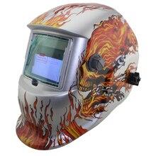 Blanco Cráneo Solar oscurecimiento automático MIG TIG MMA máscara de soldadura eléctrica/casco/soldador/lente de soldadura máquina O cortador de plasma