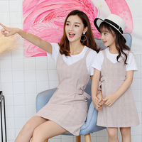 Family Matching Set Clothes 2018 Summer New Fashion Casual 2pcs Suit Cotton Short sleeve T Shirt+strap Dress Sets Family Outfits
