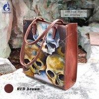 Gamystye Brand Designer Bags Ladies Handbags Art Hand Drawing Skull Shoulder Bag Genuine Full Grain Cowhide Sac A Main Red Brown
