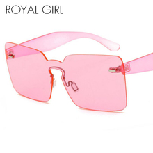 ROYAL GIRL Rimless Sunglasses Women Vintage acetate frame unique style summer shades ss182