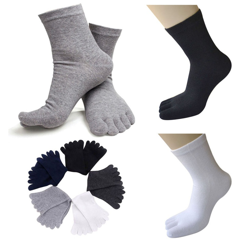 Casual Breathable Men's S Five Finger Toe Socks Solid Long Ankle Cotton Socks New  PY6