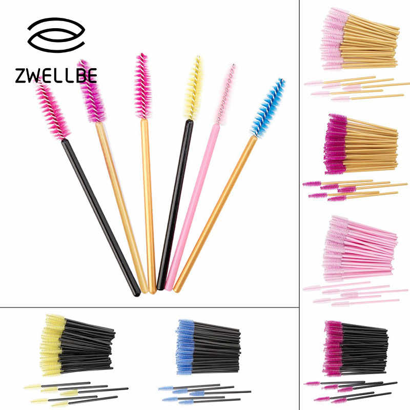 50Pcs/Pack Disposable Eyelash Brushes Eye Lashes Cosmetic Brush Mascara Wands Eyelashes Extension Tool Spoolers Makeup Tools