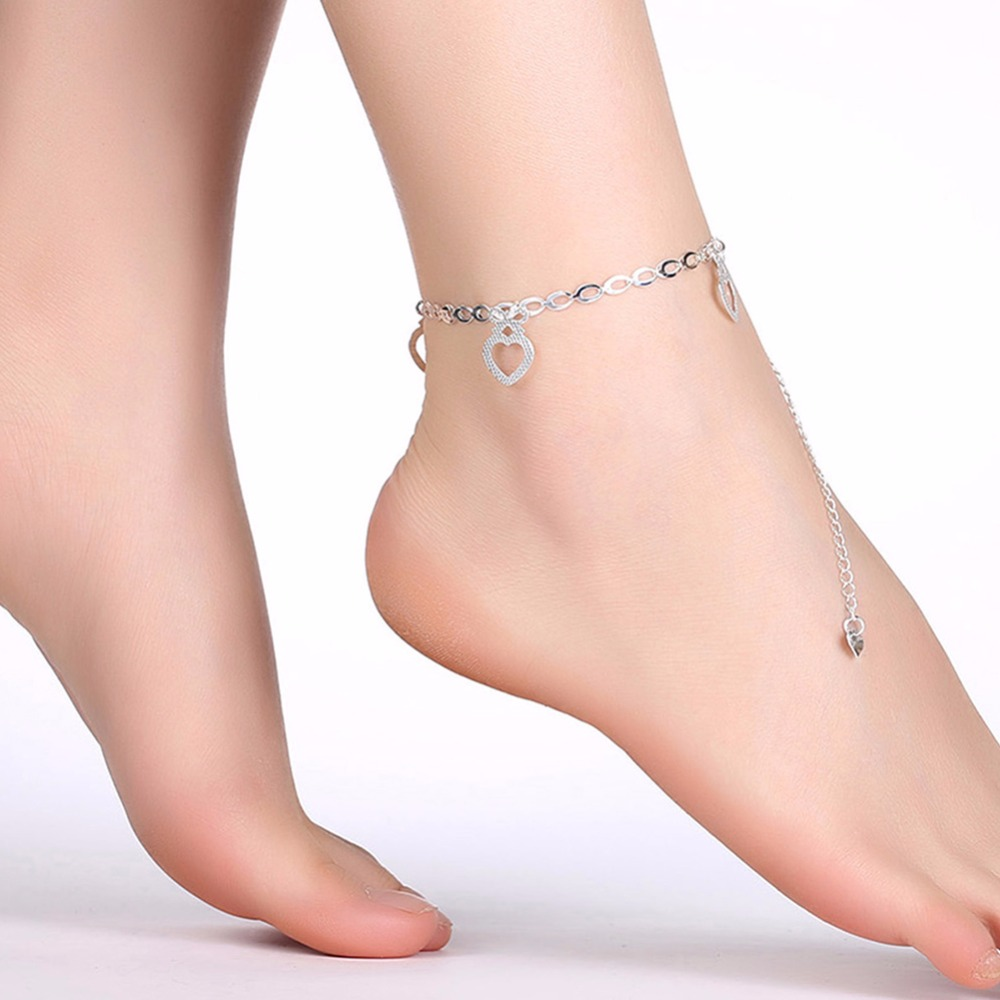 Ножные браслеты ноги носит Сердце Подвески 925 серебро творческая жизнь Безопасная Цепи для девочек ювелирные изделия Подарочные сумки Бесп...