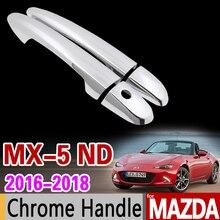 Mazda MX-5 2016 2017 2018 Cubierta de la Manija de Puerta del Cromo de Lujo Prewoodec MX5 MX 5 ND Accesorios Del Coche Pegatinas Coche Que Labra
