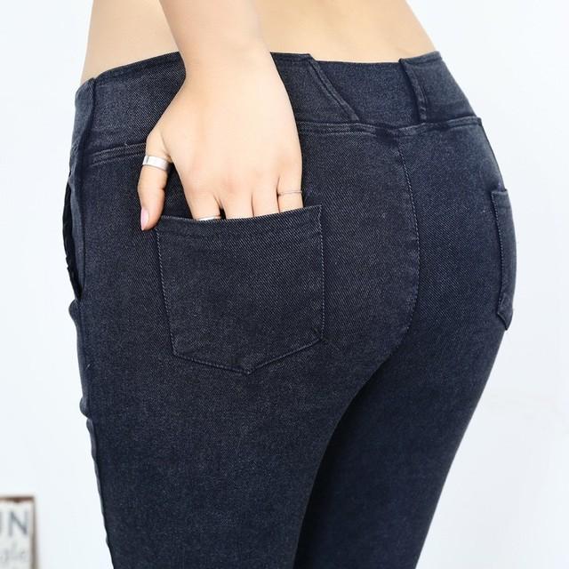 2017 High Waist Woman's Slim Washed Denim Jeans