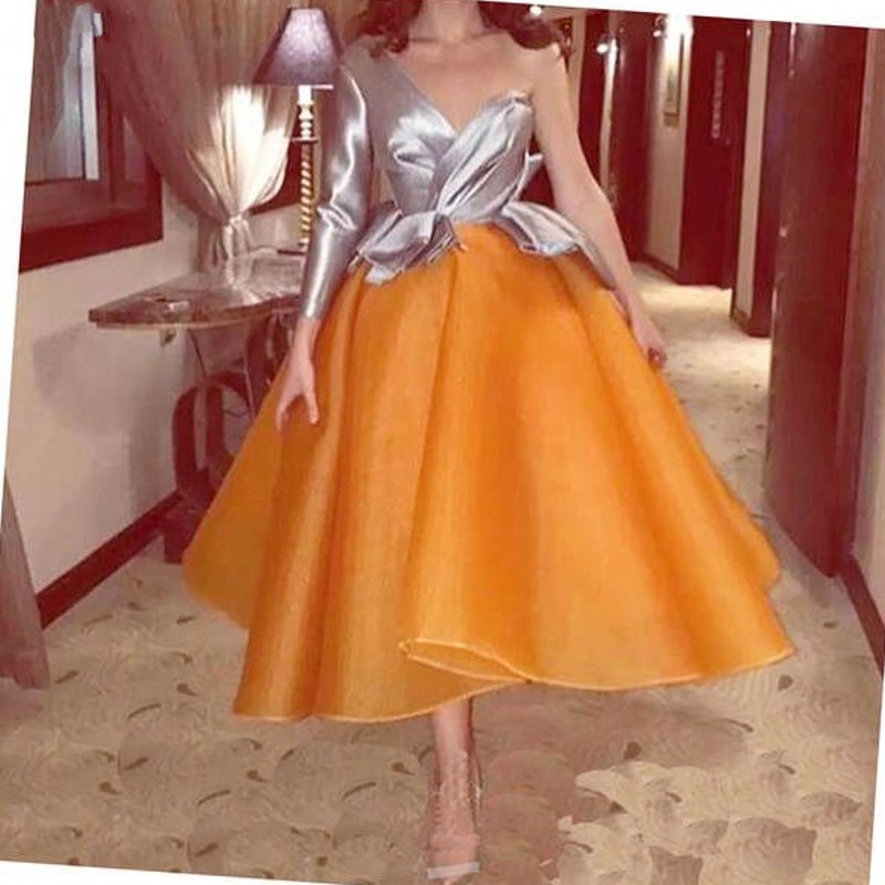 Orange Puffy Muslim Evening Dresses 2019 Long Sleeve Tea Length Organza Dubai Saudi Arabic Long Prom Dress Evening Gown