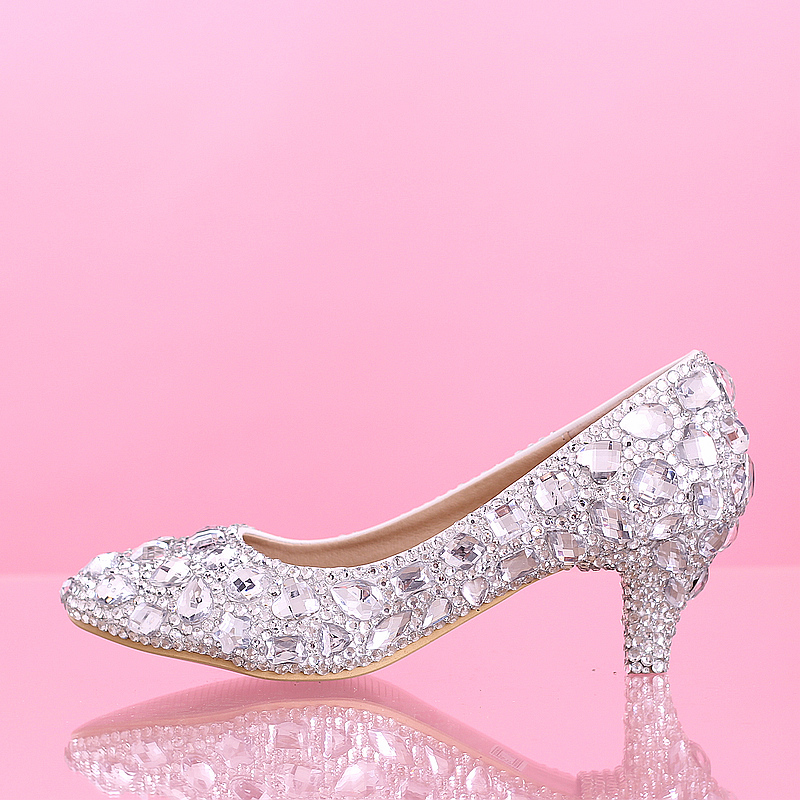 3aa7616f1f5 New fashion thick font heel font crystal women shoes pumps font jpg 800x800  Silver crystal shoes