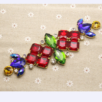 17 5 6 3cm Glass Resin Red Colorful Rhinestone Applique Gold Base Wedding Dress Belt Applique