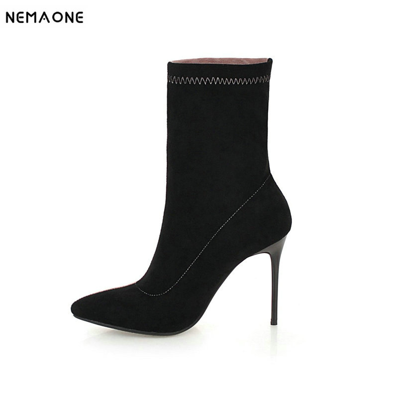 NEMAONE Women boots Fashion Pointed Toe Suede Leather 10cm High Heel Ankle Boots thin Heels Stiletto Ankle Boots faux suede stiletto ankle boots dusty rose