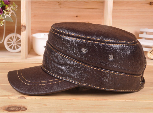 Elderly Men's Genuine Leather Nubuck Leather Hat Ear Warm Autumn Winter Hat Thick Cotton Cap B-0631