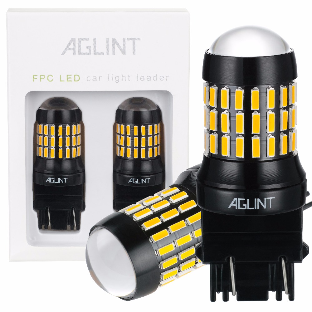 AGLINT 2PCS P27/7W T25 3156 3157 Brake Turn Signal Light Tail Lamp 4014 Chip 66SMD High Power LED Auto Replacement Bulbs Amber
