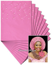 Plain Pink 10 packs 20 pieces Beaded African sego headtie head tie gele Headscarf Headgele with lots of beads free shipping DHL(China)