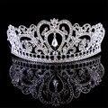 Воды типа Европейской роскоши посеребренные большой король корона горный хрусталь кристалл тиара мода большая корона свадебные аксессуары для волос