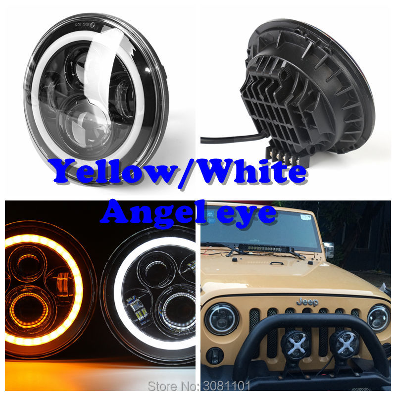 7 Inch day runing light Round Led Headlight Angel Eye High Low Beam DRL Auto for Offroad Jeep Wrangler Niva Lada 4x4 Uaz 12V 24V 2pcs free shipping 7 led headlight hi low beam with color drl 12v 24v c ree led headlight for j eep offroad 4x4