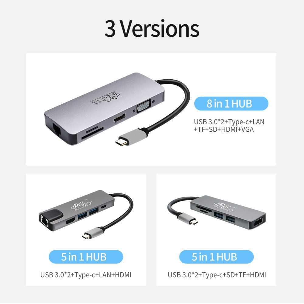 محور محطة الإرساء PCER USB C نوع c محور USB HDMI RJ45 VGA SD/TF LAN لسامسونج S8/S9/S10 لهواوي P20 P30 PRO ل LG G5/6
