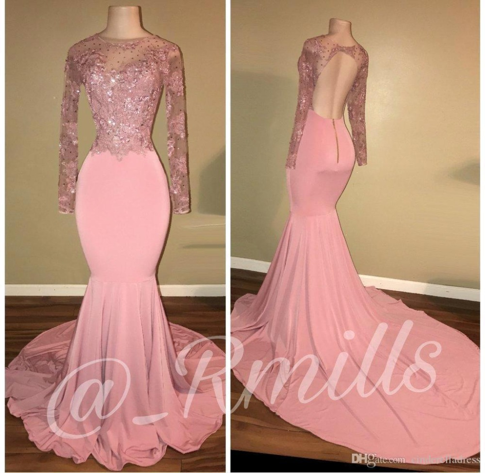 Robe De Soiree Luxurious Beaded Appliques Mermaid Long Sleeve Pink African   Prom     Dresses   2019 Satin Evening   Dress   Party Gown
