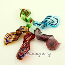 twist glitter Italian venetian lampwork handmade murano glass pendants for necklaces jewelry cheap fashion jewellery
