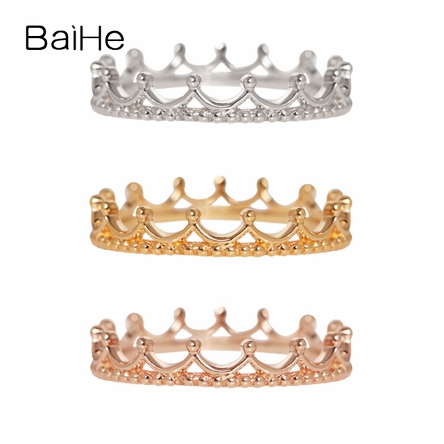 BAIHE Solid 14K Yellow Gold(AU585) Certified Wedding Band Women Trendy Fine Jewelry fashion unique grace gift Ring
