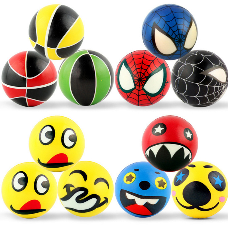 KAWO 12 Pieces Funny Grasping Balls Expression Pattern Ball Basketball Toys Cute Facial Expression Smile Face PU Bouncy Ball