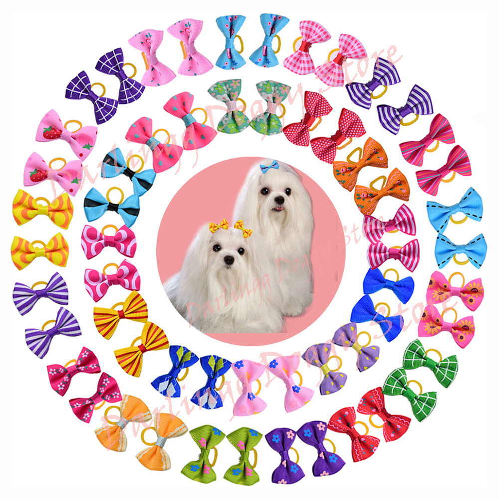 10pcs Pet Puppy Cat Dog Hair Bows With Rubber Bands Dog Grooming Accessories For Small Dogs Pet Supplies