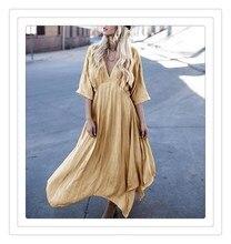 все цены на 2018 Fashion Women Summer High Waist Dress Loose Light Thin Deep V Neck Maxi Dress Casual Cotton Linen Long Beach Dresses