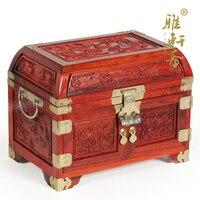 home decor Rosewood jewelry box TZ Zhai acid branch wood super solid wood jewelry box dragon treasure box with lock