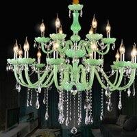 Хрустальные люстры Современные светодиодные люстры зеленые свечи кристалл лампы стекло лестница люстра большая Хрустальная люстра чихлы
