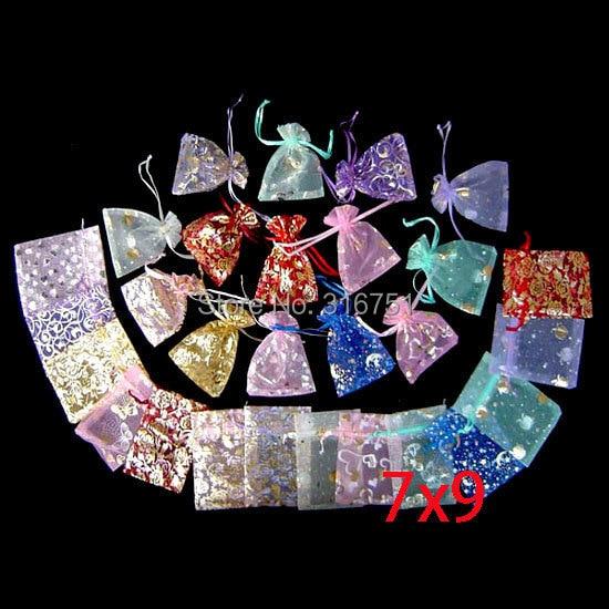 100pcs Random Mixed Drawable Organza Wedding Bags&pouches 7x9cm(w00468) AA