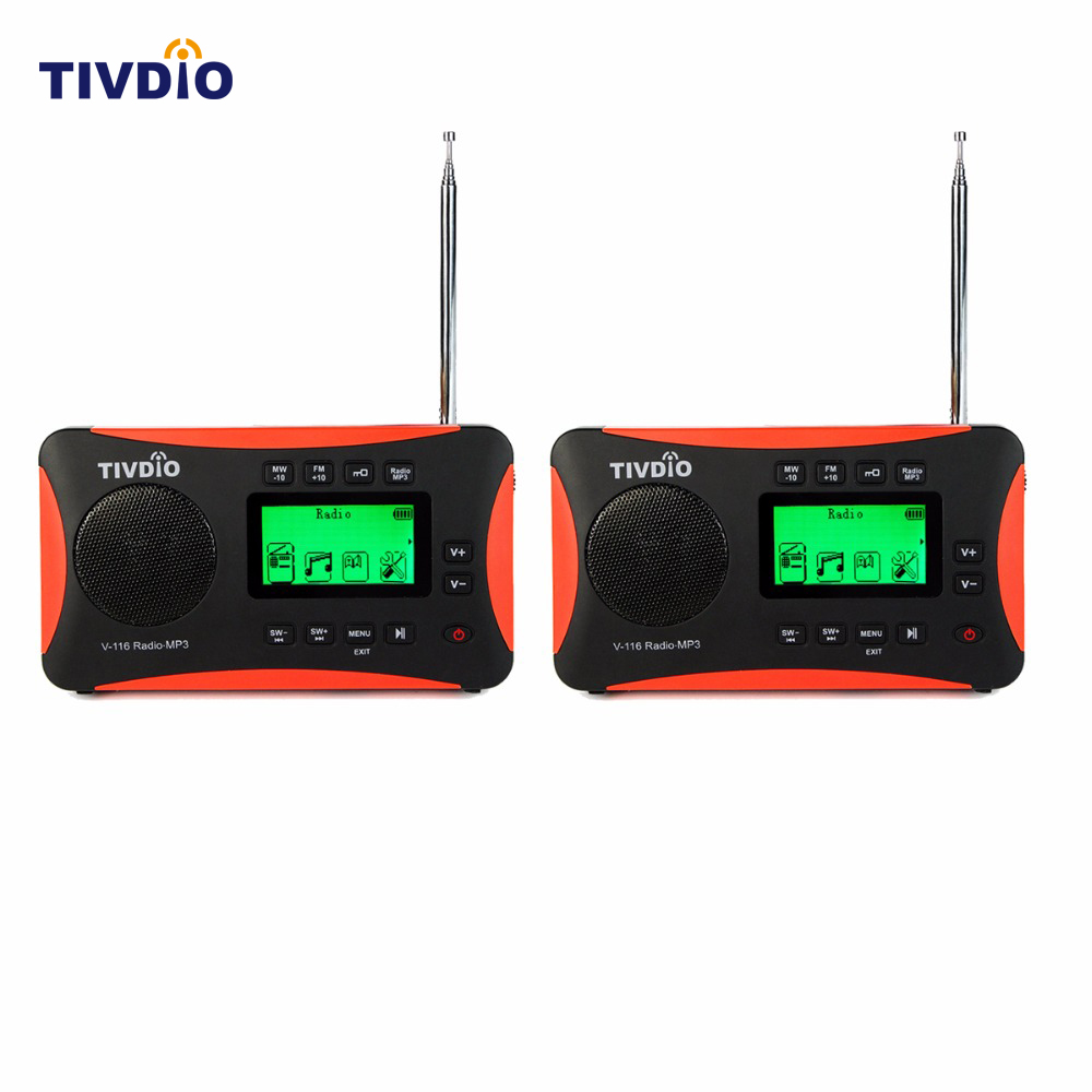 ФОТО 2pcs TIVDIO V-116 FM MW SW Multiband Radio Receiver MP3 Player Shortwave Transistor Radio Sleep Timer Alarm Clock F9206A