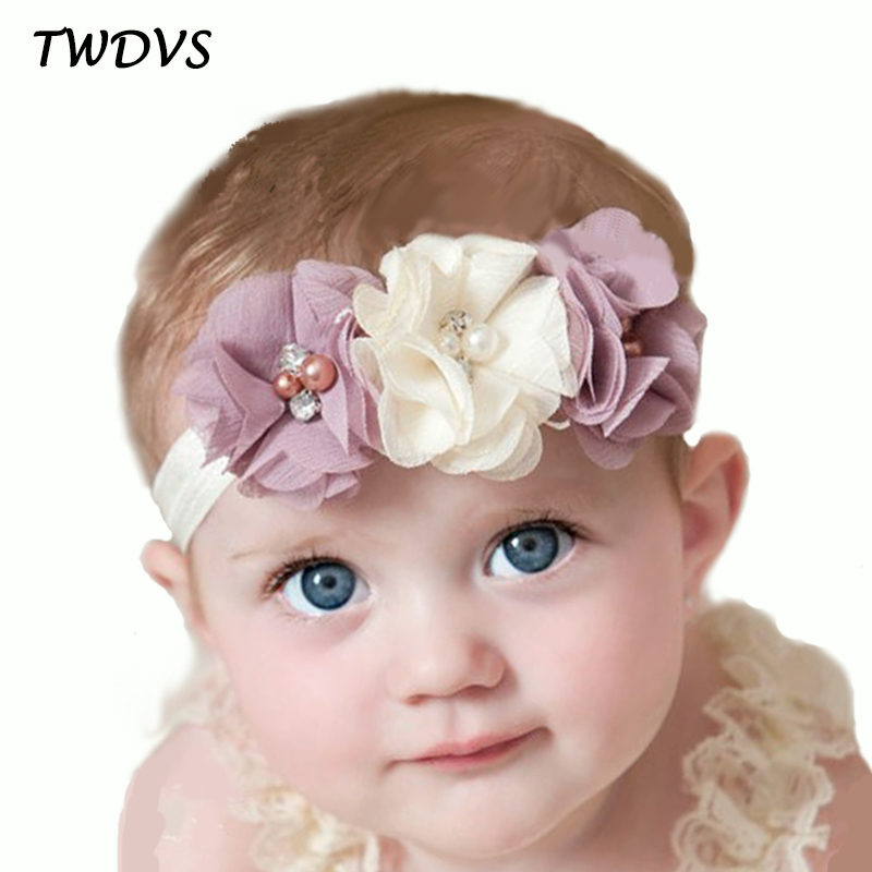 TWDVS Newborn Flower Elastic Hair Band Headband Kids Chiffon 3 Flower Pearl Diamond Ring Hair Accessories Flower Headbands W045