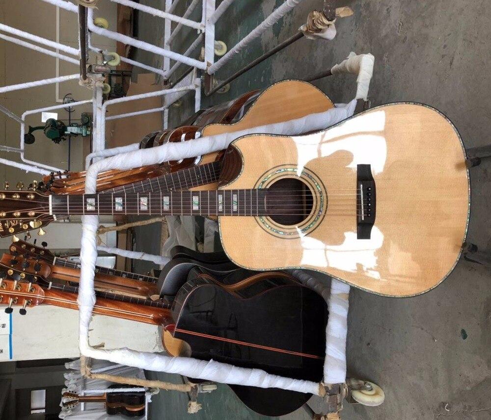 Livraison gratuite faite à la main table en épicéa massif personnalisé Biseauté Cutway acoustique électrique guitare