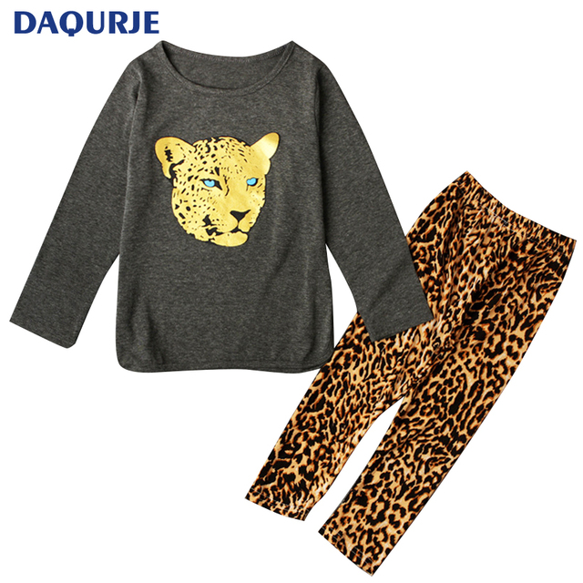 Retail 2018 Winter Girls Clothing Sets Baby Leopard Print