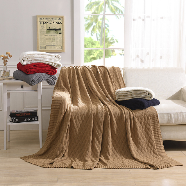 Knitted Blanket Bed Cover Banket Super Soft Warm On The 100 Cotton Sofa