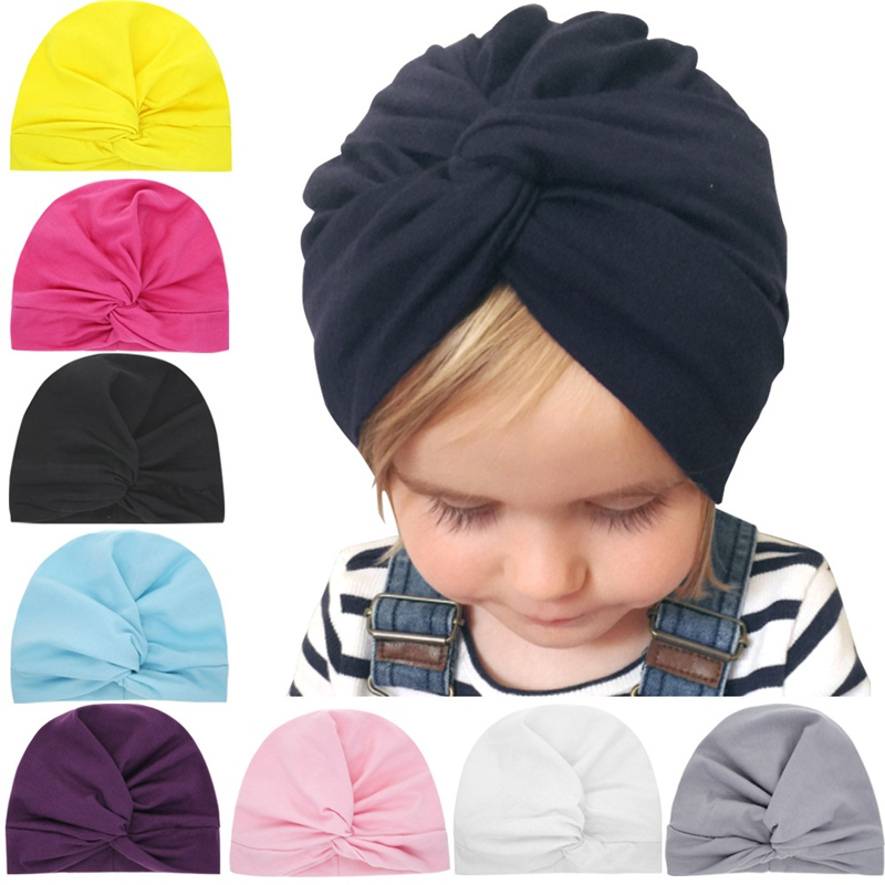 8 Colors Toddler Headband Baby Cross Beanie Cap Solid Elastic Headband Girls Winter Warm Headwear Kids Cotton Hear Warp Headband