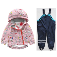 Spring new boys and girls hooded Jacket jacket Children's baby personality cartoon windbreaker Tops + pants недорого