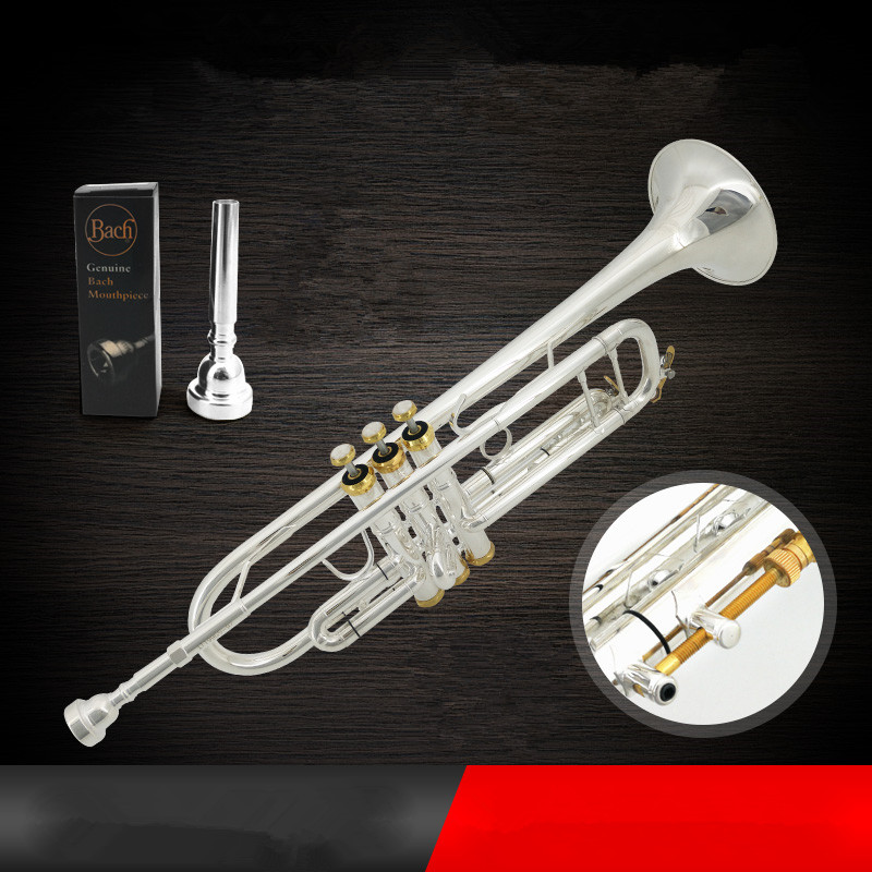 Trumpet Just Bach Stradivarius Professional Bb Trumpet Lt180s-37gs Silver Plated Trompete Instrumentos Musicales Profesionales Mouthpiece Brass Instruments