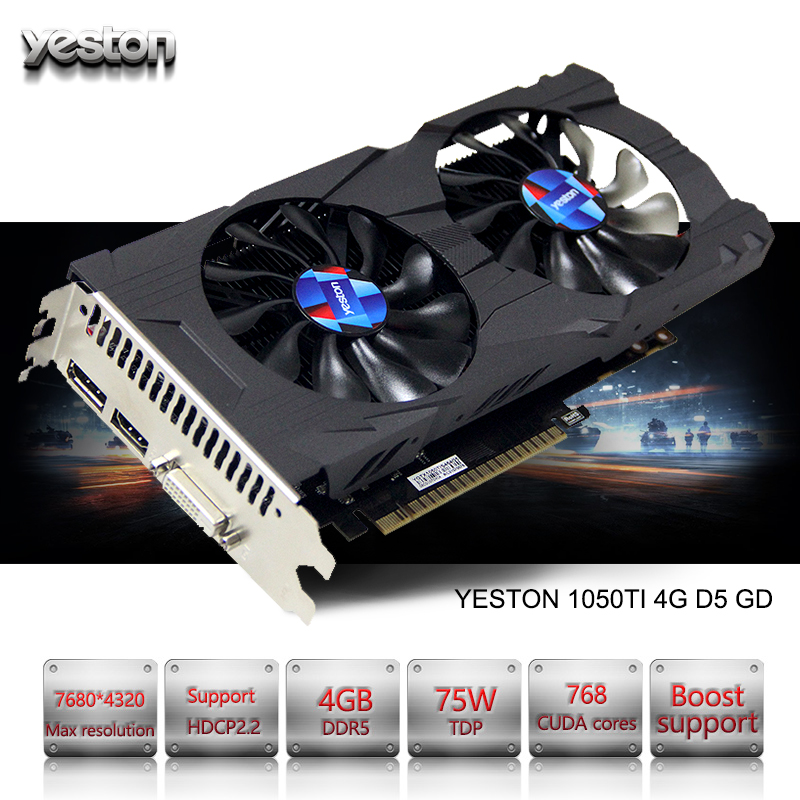 Yeston GeForce GTX 1050Ti GPU 4 ГБ GDDR5 128 бит игровой Настольный компьютер PC поддерживает видео Графика карты PCI-E X16 3,0 TI