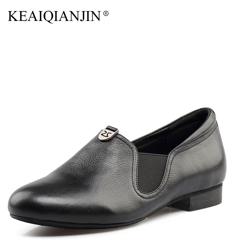 KEAIQIANJIN Woman Metal Decoration Loafers Spring Autumn Black Pink Casual Loafers Shoes Plus Size 36 - 41 Genuine Leather Flats keaiqianjin woman sheepskin flats black red silvery plus size 33 41 spring autumn derby shoes lace up genuine leather shoes