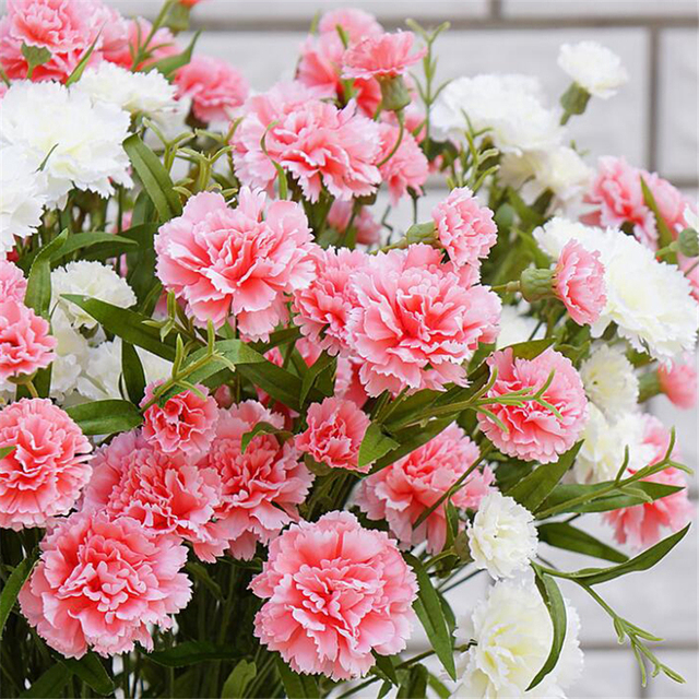 Flores Artificiales De Seda De 6 Brotes Flor De Flores De Clavel