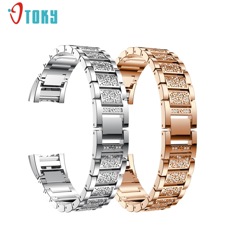 New Arrive Crystal Stainless Steel Watch Band Wrist Strap For Fitbit charge 2 Dropship #N05